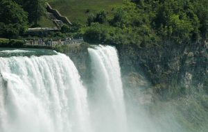 large waterfall in shape of bridal veil