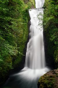 two-tiered waterfall in shape of bridal veil