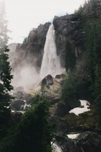 tall waterfall in shape of bridal veil