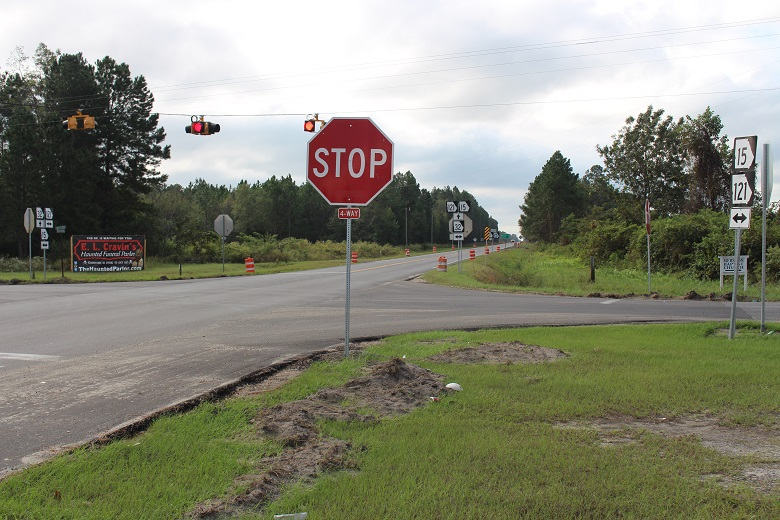 intersection with 4-way stop sign