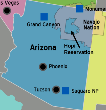 Map showing boundaries of the state of Arizona, Navajo Nation, and the Hopi Reservation