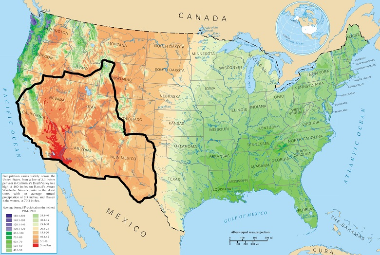 Map of the United States showing states and precipitation averages of the USA, and black boundary marking the us southwest region.