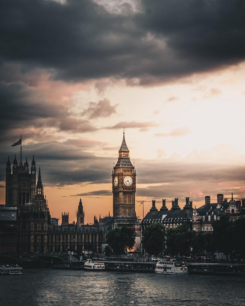 Big Ben clocktower at sunset in London