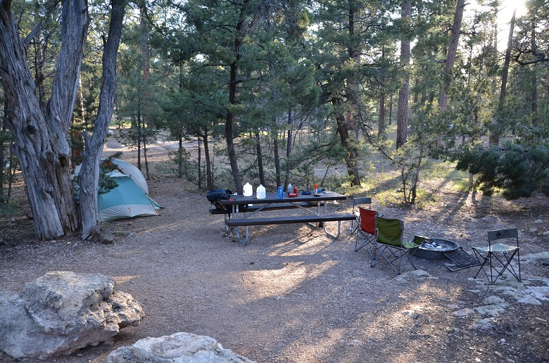 campsite with tent, picnic table, fire ring, and camp chairs