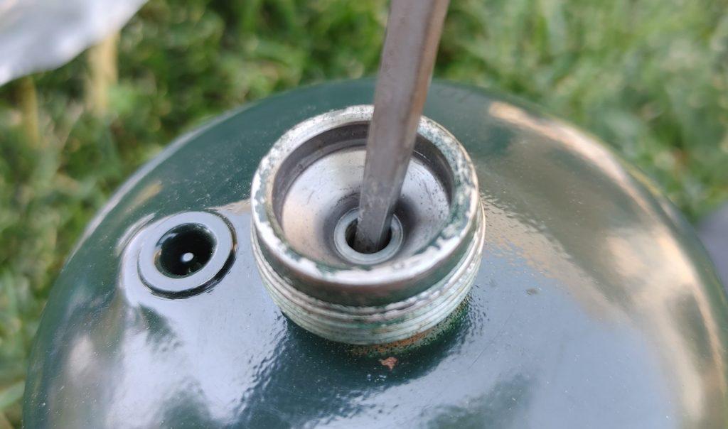 Empty propane cylinder